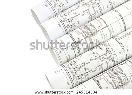 Image of isolation drawings for the project engineer jobs - stock photo