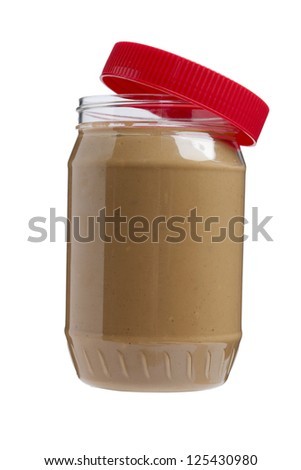 Image of jar of yummy peanut butter against white background - stock photo