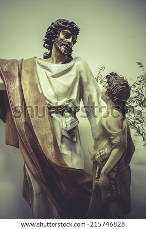 image of Jesus Christ with white mantle, worship and religion - stock photo