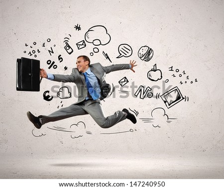 Image of jumping young businessman. Business collage