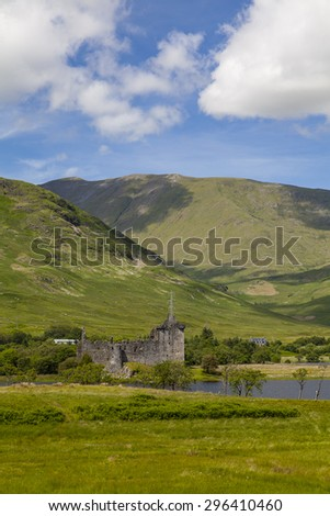 Image of Kilchurn Castle, on the shores of Loch Awe, Scotland.  - stock photo