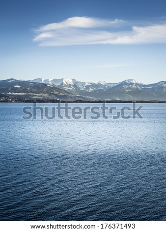 Image of lake constance Bodensee with blue sky and clouds in Bavaria, Germany