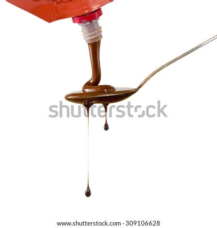 image of  liquid chocolate on a spoon   - stock photo