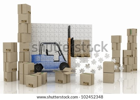 image of loader on a plane from puzzle with cargo boxes on a white background - stock photo