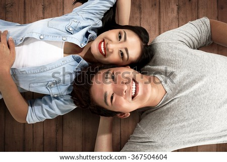 Image of lovely asian couple. Valentine day concept - stock photo