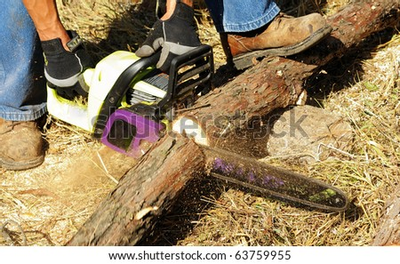 Image of male cutting wood with chainsaw