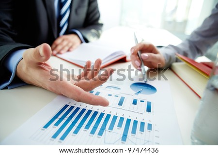 Image Male Hand Pointing Business Document Stock Photo 97474436