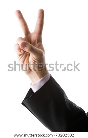 Image of male hand showing two fingers on a white background - stock photo