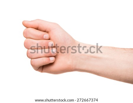 Image of male hands isolated on white background.