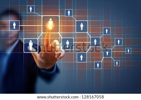 Image of male touching virtual icon of social network - stock photo