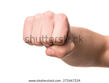 Image of man fist isolated on white background. - stock photo