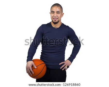 Image of man holding a ball - stock photo