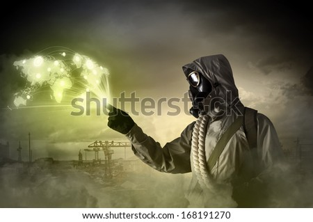Image of man in gas mask and protective uniform touching globe illustration