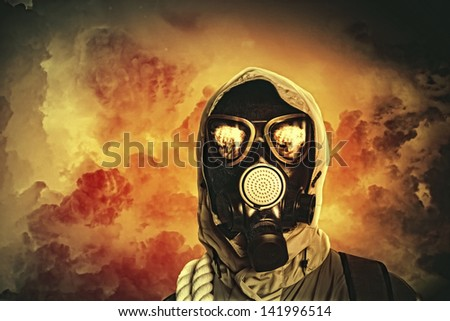 Image of man in gas mask. Ecology concept - stock photo