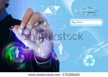 Image of man touching icon of social network