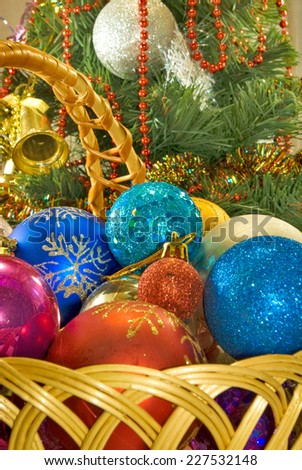 image of many Christmas decorations in basket