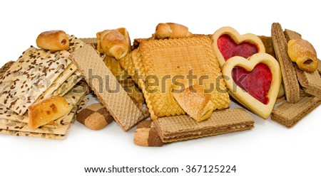Image of many delicious cookies closeup - stock photo