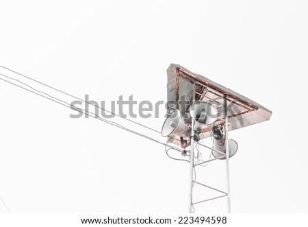 image of many megaphone and blue sky - stock photo