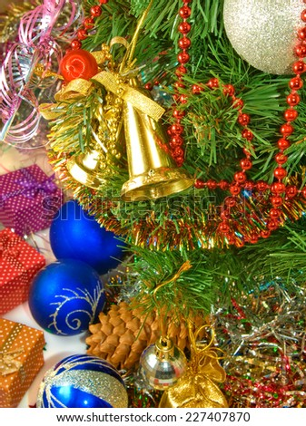 image of many of Christmas tree decorations - stock photo