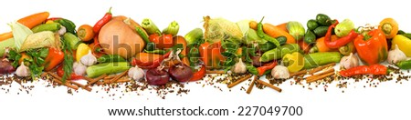 image of many raw vegetables on a white background - stock photo