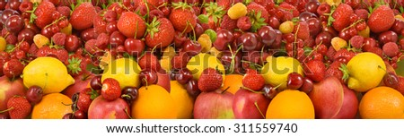 image of many ripe and delicious berries and fruits closeup - stock photo
