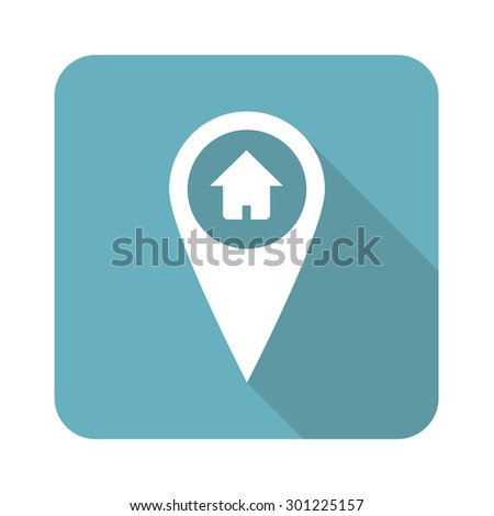 Image of map marker with house in blue square, isolated on white