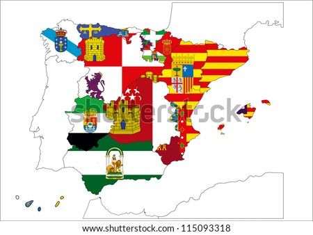 Image of map of Spain designed by computer using design software, with white background - stock photo