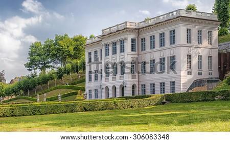 Image of Marienlyst Castle and its public gardens. Helsingor, Denmark. - stock photo