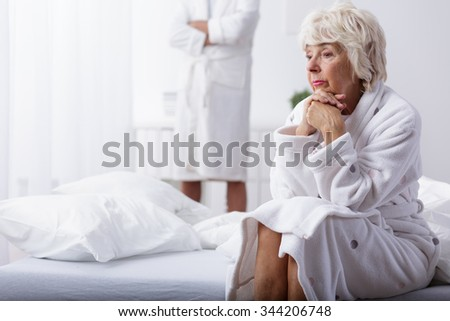 Image of mature woman unhappy in marriage - stock photo