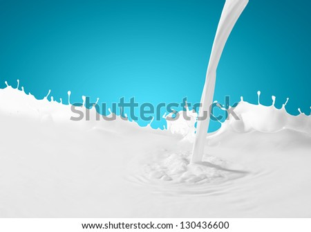 Image of milk splashes against color background