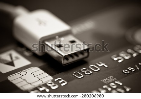 Image of money, credit cards, checks and coins. Black and white - stock photo