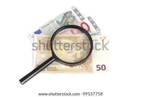 Image of money examination - stock photo