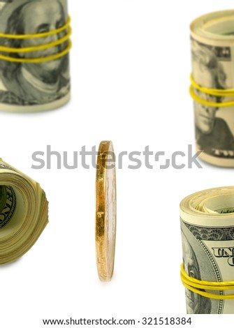 image of money on a white background closeup