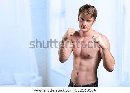 Image of muscle man posing