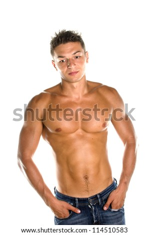 Image of muscular man posing in studio against white background
