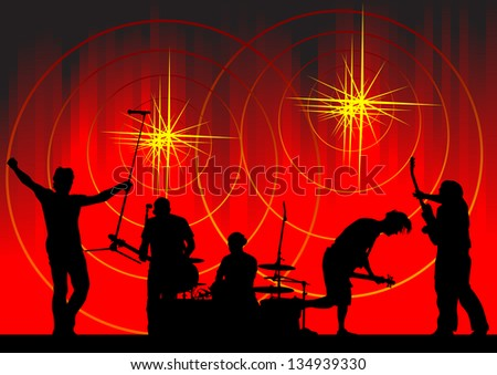 image of musical group and light show - stock photo