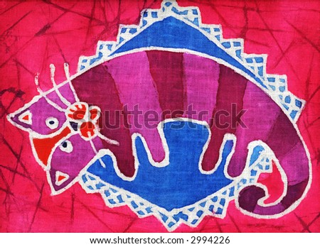 Image of my artwork with a crimson cat  on a pillow - stock photo