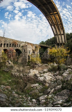 Image of New bridge and old bridge with a small chapel at Karytaina, Peloponnese, Greece