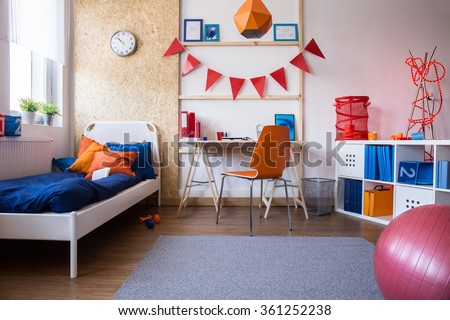 Image of new child bedroom and study room combination - stock photo