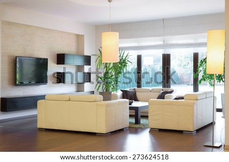 Image of new luxurious lounge with wooden parquet - stock photo