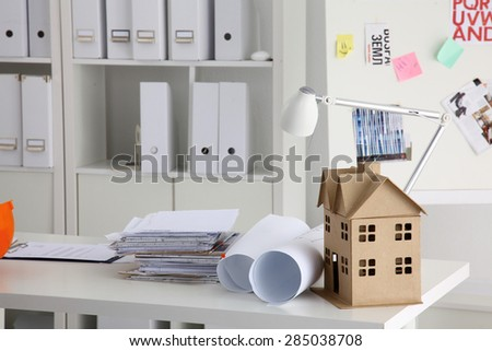 Image of new model house on architecture blueprint  . - stock photo