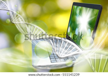 Image of notebook on DNA chains background  The image symbolizes the innovative technologies in the field of chemistry and