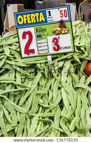 Image of  of green beans at street market