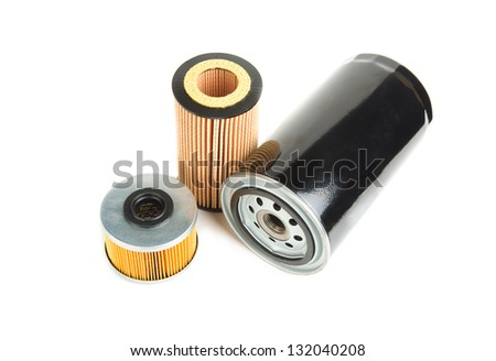 Image of oil filters isolated on white - stock photo