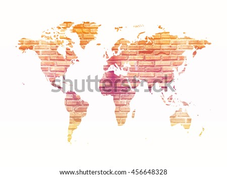 image of old dirty brick wall in shape of world map with color filter - stock photo