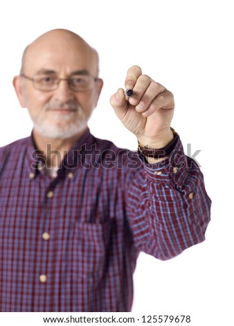 Image of old man smiling while holding a black marker against white background