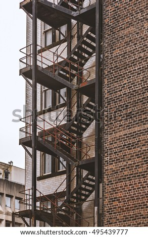 Image of old metal factory staircase.
