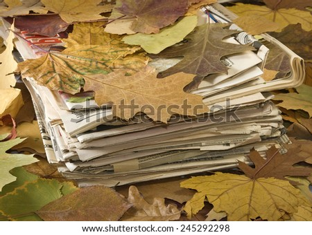 image of old newspapers closeup - stock photo