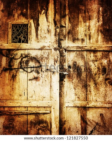 Image of old wooden dirty door background, retro style photo, grungy entrance into house, locked door, aged scratched texture, building concept, vintage wallpaper - stock photo