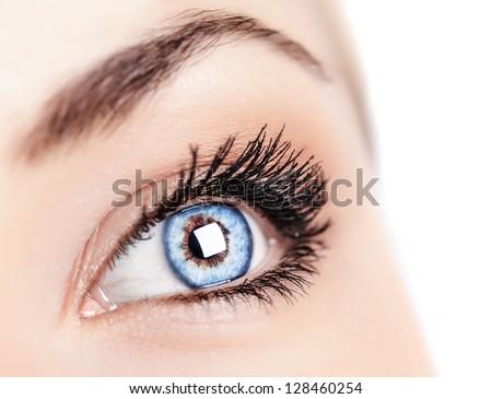 Image of one beautiful female blue eye, women's face part isolated on white background, ophthalmology clinic, health care, black mascara on eyelashes, sight treatment, healthy lifestyle concept - stock photo